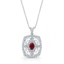 NATURAL COLOR WHITE GOLD VINTAGE FLOWER RUBY DIAMOND PENDANT