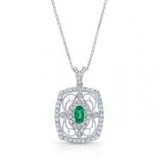 NATURAL COLOR WHITE GOLD VINTAGE OVAL EMERALD DIAMOND PENDANT