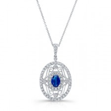 NATURAL COLOR WHITE GOLD INSPIRED VINTAGE SAPPHIRE DIAMOND PENDANT