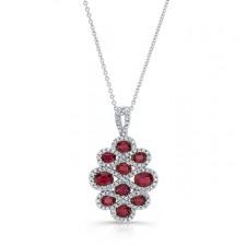 NATURAL COLOR WHITE GOLD INSPIRED RUBY FLOWER DIAMOND PENDANT