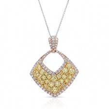 ROSE GOLD CONTEMPORARY FANCY YELLOW CLUSTER DIAMOND PENDANT