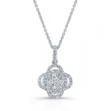 WHITE GOLD CONTEMPORARY DIAMOND CLUSTER PENDANT