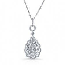 WHITE GOLD TEAR DROP DIAMOND CLUSTER PENDANT