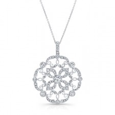 WHITE GOLD VINTAGE SWIRLED FLOWER DIAMOND PENDANT