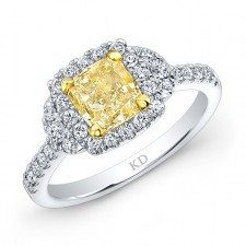 WHITE AND YELLOW GOLD ELEGANT FANCY YELLOW RADIANT DIAMOND BRIDAL RING