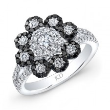 WHITE GOLD INSPIRED FASHION BLACK AND WHITE FLOWER DIAMOND RING