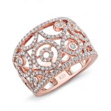 ROSE GOLD VINTAGE SWIRL DIAMOND BAND