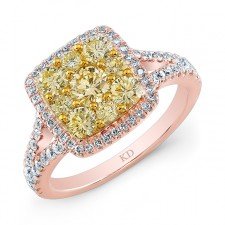 ROSE GOLD NATURAL YELLOW DIAMOND CLUSTER RING