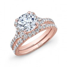 ROSE GOLD CLASSIC CUSHION HALO DIAMOND BRIDAL SET