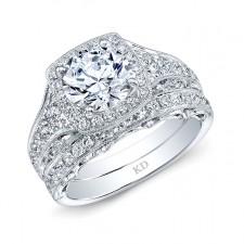 WHITE GOLD ELEGANT ROUND HALO WEDDING SET