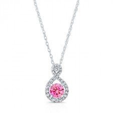WHITE GOLD PINK ENHANCED TEAR DROP ROUND DIAMOND PENDANT