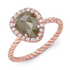 ROSE GOLD CONTEMPORARY HALO ROUGH DIAMOND RING