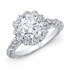 WHITE GOLD ROUND HALO DIAMOND ENGAGEMENT RING