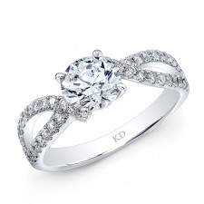 WHITE GOLD SPLIT SHANK DIAMOND BRIDAL RING
