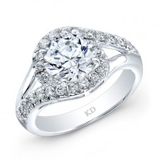 WHITE GOLD FASHION ROUND HALO DIAMOND BRIDAL RING