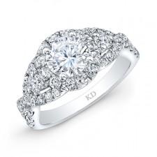 WHITE GOLD VINTAGE ROUND HALO DIAMOND ENGAGEMENT RING