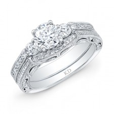WHITE GOLD VINTAGE DIAMOND ENGAGEMENT SET