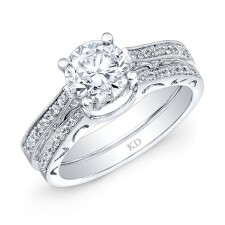 WHITE GOLD DIAMOND VINTAGE ENGAGEMENT SET