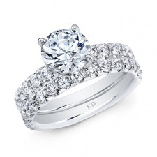 WHITE GOLD INSPIRED CLASSIC DIAMOND ENGAGEMENT SET