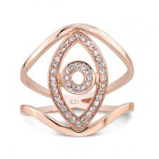 ROSE GOLD VERTICAL EVIL EYE DIAMOND RING