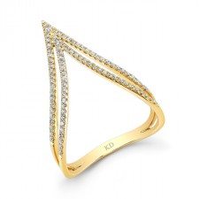YELLOW GOLD STYLISH CURVED DOUBLE V DIAMOND RING