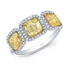 WHITE GOLD THREE- STONE INSPIRED HALO ROUGH DIAMOND RING