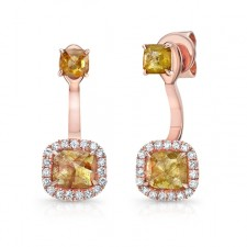 ROSE GOLD TRENDY ROUGH DIAMOND DANGLE EARRINGS