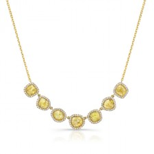 YELLOW GOLD INSPIRED SEVEN STONE FRAME ROUGH DIAMOND NECKLACE