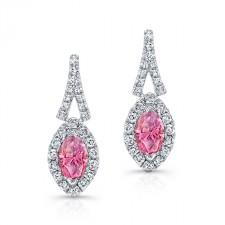 WHITE GOLD PINK ENHANCED MARQUISE DIAMOND HALO EARRINGS