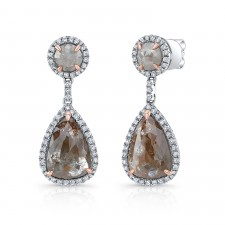 WHITE GOLD CLASSY ROUGH DIAMOND DANGLE EARRINGS