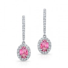 WHITE GOLD PINK ENHANCED OVAL DIAMOND DROPLET EARRINGS