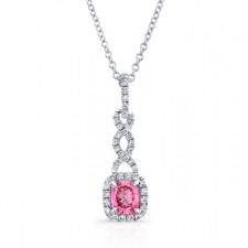 WHITE GOLD TWISTED PINK ENHANCED CUSHION DIAMOND PENDANT