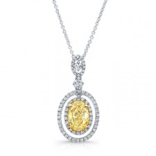 WHITE AND YELLOW GOLD OVAL FANCY YELLOW DIAMOND PENDANT