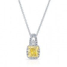 WHITE AND YELLOW GOLD ELEGANT FANCY YELLOW CUSHION HALO DIAMOND PENDANT