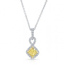 WHITE AND YELLOW GOLD CUSHION FANCY YELLOW DIAMOND PENDANT