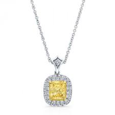 WHITE AND YELLOW GOLD CUSHION FANCY YELLOW HALO DIAMOND PENDANT