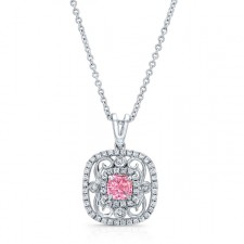WHITE GOLD VINTAGE PINK ENHANCED CUSHION DIAMOND PENDANT