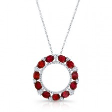 NATURAL COLOR WHITE GOLD CIRCLE OF LOVE RUBY DIAMOND PENDANT