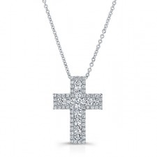 WHITE GOLD ELEGANT DIAMOND CROSS PENDANT