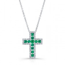 NATURAL COLOR WHITE GOLD INSPIRED EMERALD CROSS DIAMOND  PENDANT