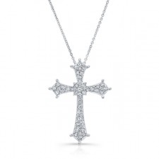 WHITE GOLD VINTAGE DIAMOND CROSS PENDANT