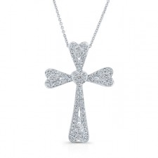 WHITE GOLD VINTAGE DIAMOND HEART CROSS PENDANT