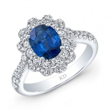 NATURAL COLOR WHITE GOLD VINTAGE OVAL SAPPHIRE HALO DIAMOND RING