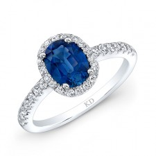 NATURAL COLOR WHITE GOLD INSPIRED  SAPPHIRE HALO DIAMOND RING