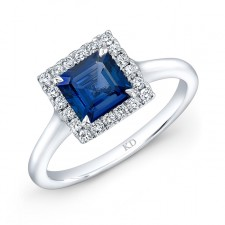 NATURAL COLOR WHITE GOLD ELEGANT SQUARE HALO SAPPHIRE RING