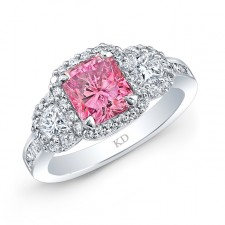 WHITE GOLD ELEGANT PINK ENHANCED RADIANT DIAMOND ENGAGEMENT RING