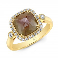 YELLOW GOLD INSPIRED HALO ROUGH DIAMOND RING