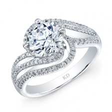 WHITE GOLD FASHION SWIRLED DIAMOND ENGAGEMENT  RING