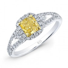 WHITE AND YELLOW GOLD FANCY YELLOW CUSHION DIAMOND BRIDAL RING