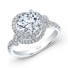 WHITE GOLD  CONTEMPORARY DIAMOND SWIRLED ENGAGEMENT RING